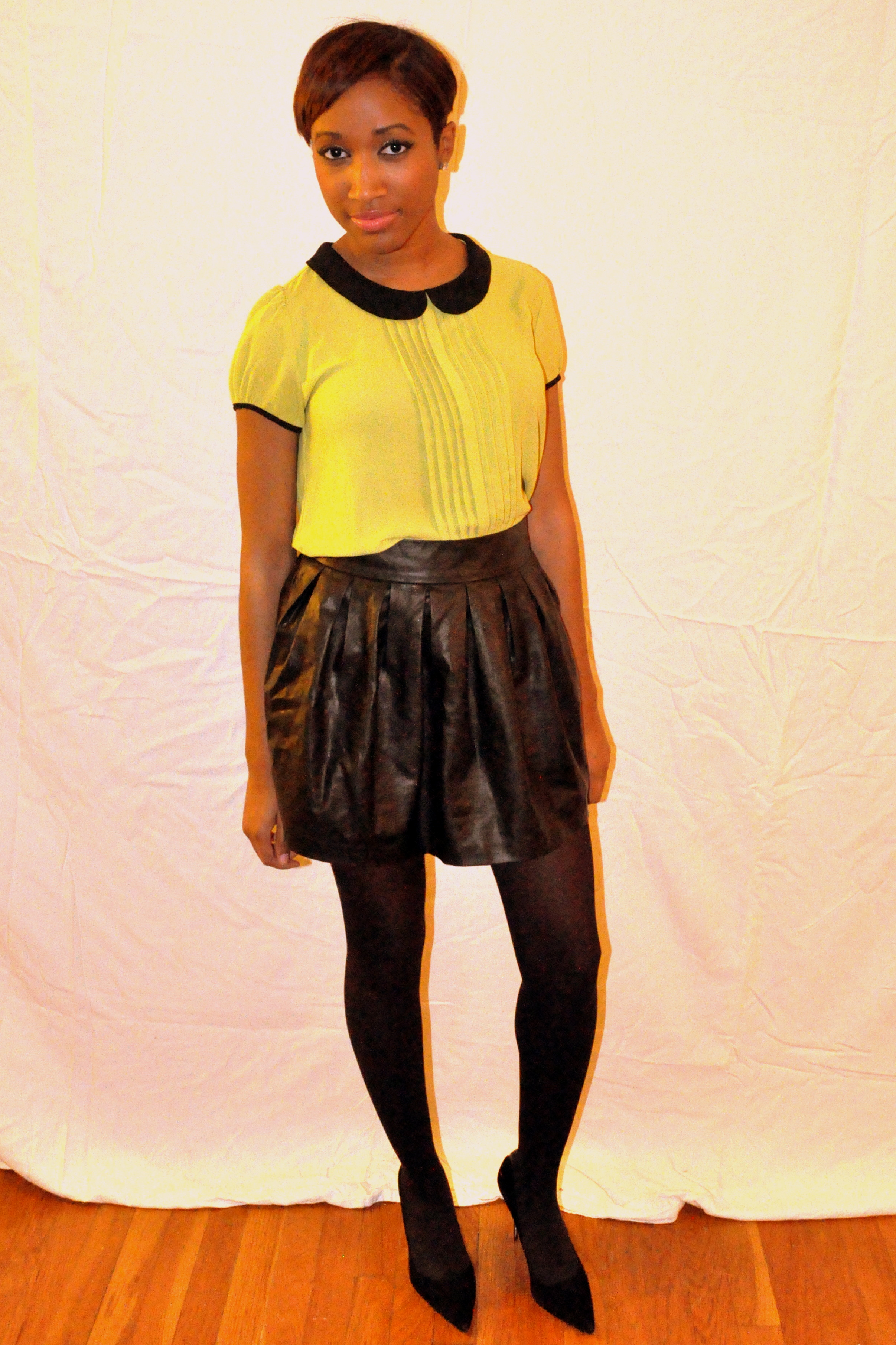 ootd pan collar leather skirt couture