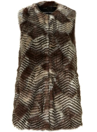 Brown longline faux fur gillet