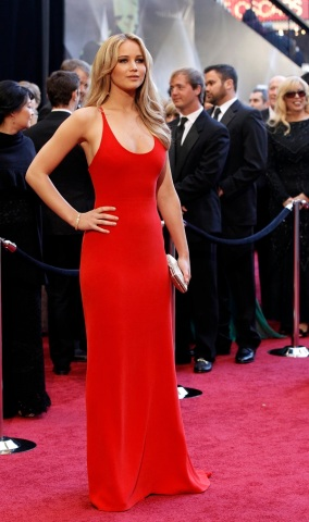 """Jennifer Lawrence, best actress nominee for her role in """"Winter's Bone,"""" arrives at the 83rd Academy Awards in Hollywood, California."""