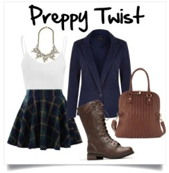 You are preppy, but you still like to add elements that toughen up your look. Plaid and combat boots are always a great combo
