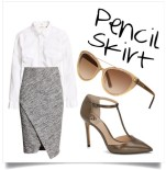 Try out a chic office look with this wrap-around asymmetrical skirt and t-strap pumps. The cat-eye sunnies will give an air of sophistication as you head into the office.