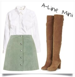 Channel a 1970's fashionista with this suede a-line mini skirt and over-the knee boots. The colors are perfect for the start of fall.