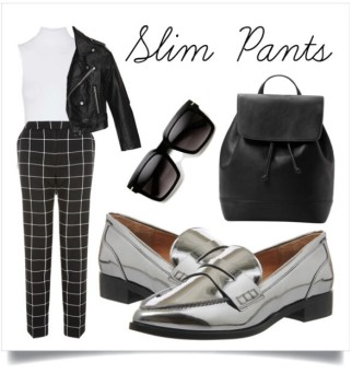 Go for cool updated 60's look with a pair of slim cut pants and loafers. Metallic loafers will add a real pop. Note: This can be alternated with a skinny pairs of jeans! Flats