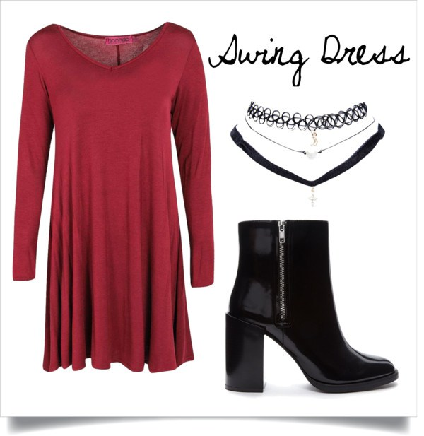 A swing dress is loose enough to hide the turkey bloat, but for fitting enough to keep your figure in tact,