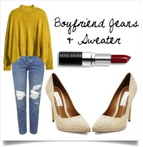Boyfriends are super comfortable and chic. Dress them up with a pair pointed pumps and a dramatic lip!