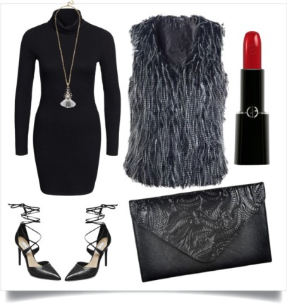 This look is perfect for a night out with the hubby or boyfriend. It is also great for dinner with the girls. The turtleneck dress will compliment the vest perfectly. It is effortlessly fabulous! Vest