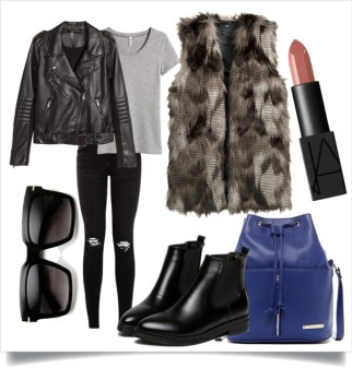 Add a bit of edge by layering a fur vest over a leather jacket. This also has the added benefit of extending the life of your leather jacket. The vest acts as an extra layer of warmth. Vest