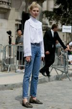 Jeans automatically make you like you didn't try too hard. Victorian blouses are very structured, so jeans will tone down your look.