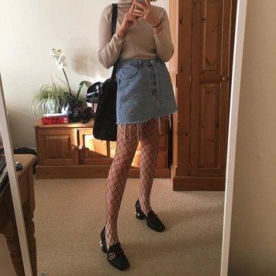fishnet-denim-skirt