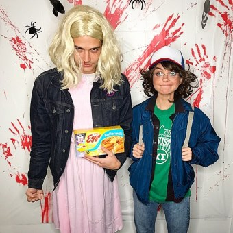 "Sarah Hyland & Wells Adams as Dustin & Eleven from ""Stranger Things"""