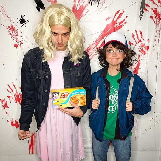 """Sarah Hyland & Wells Adams as Dustin & Eleven from """"Stranger Things"""""""